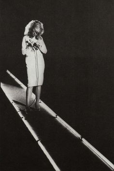 Debbie Harry, 1978 rock star Blondie photo print ad singer stage lights dress microphone 70s 80s