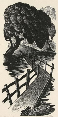 Clare Leighton. The Footbridge.   Wood engraving illustration from Under the Greenwood Tree by Thomas Hardy.