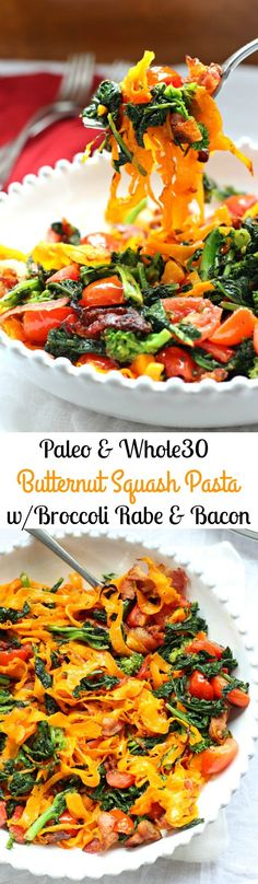 Paleo Butternut Squash Pasta with Broccoli Rabe, Bacon, and Tomatoes - Paleo & Whole30, clean eating, grain free, dairy free: