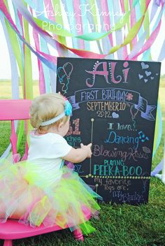 Baby Girl First Birthday Photo Shoot. Just use a thick board that's black and write with gel markers