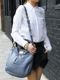 Marc By Marc Jacobs Grey Classic Q Hillier Hobo Bag in Blue (grey)