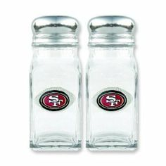 """NFL San Francisco 49ers Glass Salt & Pepper Shakers by FindingKing. $35.99. This is a new set of NFL San Francisco 49ers glass salt and pepper shakers. It makes a great gift for you or a loved one. It measures approximately 3 1/2"""" x 1 1/2"""" x 3 3/4"""" (88.9 x 38.1 x 95.2). Spice up your favorite meal while showing team spirit. This is an officially licensed NFL product. NFL San Francisco 49ers Glass Salt & Pepper Shakers      This is a new set of NFL San Francisco 49ers..."""
