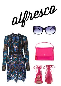 """""""Alfresco day to night"""" by kat-henderson on Polyvore featuring self-portrait, Nine West, Kate Spade and Jimmy Choo"""