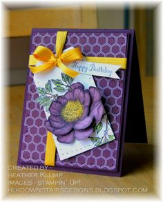 Bloom with hope (hk) by Heather Klump, Stamps - Bloom with hope Paper - Blackberry Biss, Moonlight Dsp, Whisper White Ink - Memento, Blendabilities Accessories - Paper Piercing tool, Hello Honey Satin Ribbon