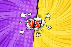 Comic duel bright template with speech bubble explosive clouds twisted radial lightnings rays halftone effects speech bubble red VS letters on yellow and purple sides vector illustration , Comic Book Frames, Comic Frame, Retro Background, Cartoon Background, Background Banner, Comic Styles, Cartoon Styles, Create Your Own Comic, Desenho Pop Art