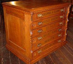 OAK Clarks 6 Drawer Spool Thread Cabinet Brass Pulls IN Shape OF Thread 14458 | eBay
