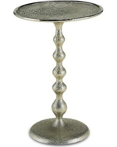 Currey and Company Hookah Accent Table 4104 Art Deco Tables Nickel
