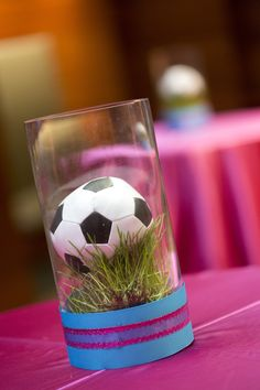 Soccer centerpiece - cocktail decor - grass - bat mitzvah - sports theme - pink - blue - girls - design by DB Creativity - laura@Dbcreativity.com