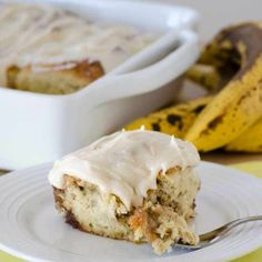 no yeast Banana Cinnamon Rolls with Maple Frosting