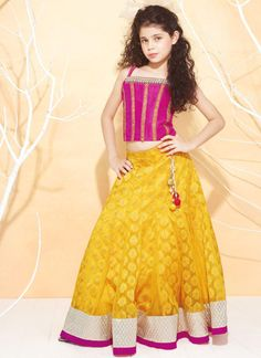 Little Girls Kids Sharara Lehenga Choli 2015 Indian Designs Yellow Pink Kids Indian Wear, Kids Ethnic Wear, Indian Designer Outfits, Designer Dresses, Little Girl Dresses, Girls Dresses, Kids Lehenga Choli, Kids Lehanga, Sarees
