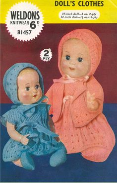 Items similar to PDF Vintage Doll Clothes Premature Baby Knitting Pattern Weldons Layette Lacy Dress Matinee Bonnet Rose Bud Baby Tears Ginny on Etsy Doll Clothes Patterns, Doll Patterns, Vintage Patterns, Clothing Patterns, Baby Knitting Patterns, Crochet Patterns, Crochet Baby, Knit Crochet, Premature Baby