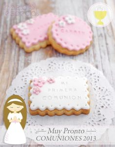 First Communion Cookies for Girls in Spanish Baptism Cookies, Baby Cookies, Iced Cookies, Sugar Cookies, Heart Cookies, Valentine Cookies, Easter Cookies, Birthday Cookies, Christmas Cookies