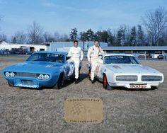 Richard Petty and Buddy Baker 1971 factory Chrysler NASCAR team. Follow us @ https://www.pinterest.com/livescores/