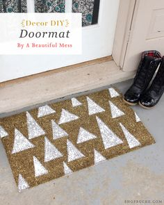 DIY Holiday Decor: Painted doormat tutorial by A Beautiful Mess to make your place feel a little more like home.