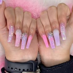 28 Casual Acrylic Nail Art Designs Ideas To Fascinate Your Admirers : Page 7 of 28 : Creative Vision Design Aycrlic Nails, Glam Nails, Bling Nails, Hair And Nails, Manicure, Coffin Nails, Pink Acrylic Nails, Purple Nails, Pink Nail