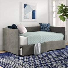 Willa Arlo Interiors Elof Twin Daybed & Reviews | Wayfair Full Daybed With Trundle, Daybed With Storage, Wood Daybed, Upholstered Daybed, Sofa Bed, Couch, Trundle Mattress, Bed Slats, Decoration