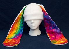 Bunny Rabbit Usagi Hat Rainbow Swirl Splatter long by CuteKick