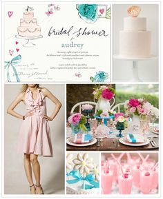Pink and Teal Bridal Shower Inspiration Board