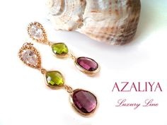 Zirconia Princess Chandeliers. Plum & Green Leaf Crystals on Cubic Zirconia Studs. Azaliya Luxury Line. Bridal, Bridesmaids Earrings. Gifts. on Etsy, 44,51 €