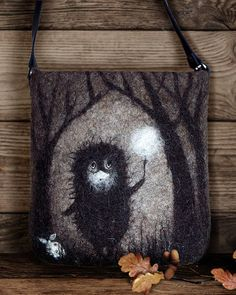 Hedgehog in the Fog Felted bag Crossbody bag Shoulder Bag Shoulder Messenger Bag Boho Hobo