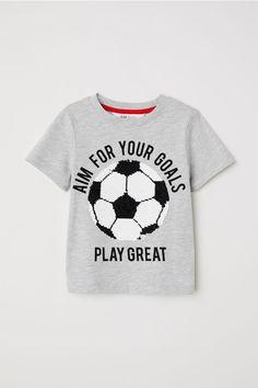 61b983d80a8a T-shirt med vändbara paljetter - Gråmelerad/Fotboll - BARN | H&M ...