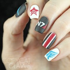 Copycat Claws: The Digit-al Dozen does Fandom: Day 3 Mass Effect (and Dragon Age) Nail Art