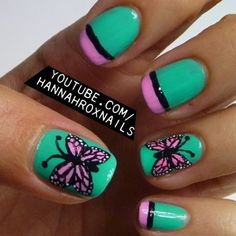 37 Cute Butterfly Nail Art Designs Ideas You Should Try - Pinokyo Crazy Nail Art, Crazy Nails, Funky Nails, Pretty Nail Art, Cool Nail Art, Love Nails, Butterfly Nail Designs, Butterfly Nail Art, Nail Printer