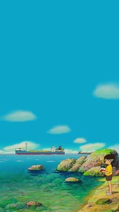 Studio Ghibli's Ponyo Studio Ghibli Art, Studio Ghibli Movies, Cute Cartoon Wallpapers, Animes Wallpapers, Hayao Miyazaki, Aesthetic Backgrounds, Aesthetic Wallpapers, Studio Ghibli Background, Japon Illustration