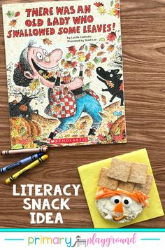 The old lady is back swallowing fall-themed items. What can you make from leaves, clothes, a pumpkin, and rope? That's right, a scarecrow, and that's what we'll be making for our snack this week. Come get the details and FREE printable to go along with the book. #preschool #kindergarten #booksnack #literacysnack