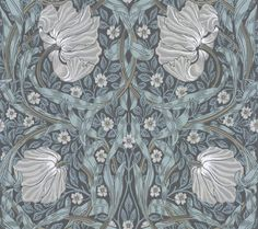 Pimpernel by Morris - Charcoal / Multi - Wallpaper : Wallpaper Direct William Morris Tapet, William Morris Wallpaper, Morris Wallpapers, Blue Wallpapers, Interior Wallpaper, Wall Wallpaper, Pattern Wallpaper, Black Floral Wallpaper, Yurts