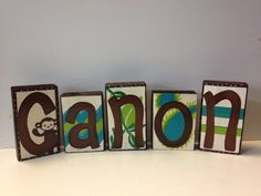 I painted these baby name blocks for a baby boy with a safari monkey theme
