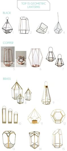 Geometric Lanterns, candle holders, and terrariums for modern weddings / http://www.deerpearlflowers.com/terrarium-geometric-details-ideas/