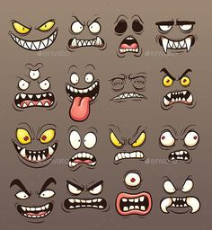 Vector clip art illustration with simple gradients. Each … ) ) Cartoon monster faces. Vector clip art illustration with simple gradients. Each on a separate layer. and PSD files included. Cartoon Faces Expressions, Funny Cartoon Faces, Cartoon Expression, Cartoon Eyes, Cartoon Monsters, Drawing Expressions, Drawing Faces, Cartoon Drawings, Art Drawings