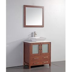 White Artificial Stone Top 24-inch Vessel Sink Cherry Bathroom Vanity and Matching Framed Mirror