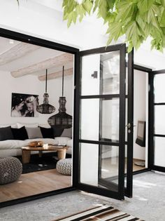 Love these wide swing modern patio doors