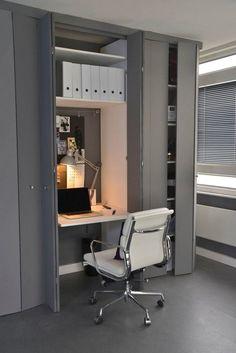 aménagement bureau à domicile - armoires de rangement, tablette rabattable…