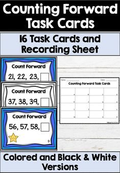 16 task cards for counting forward from different numbers Includes color and black & white versions as well as a recording sheet. Perfect for small math groups and centers! Math Activities, Teacher Resources, Classroom Resources, Classroom Decor, Math Skills, Math Lessons, First Grade Math, Grade 1, Second Grade