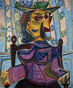 Dora Maar in an Armchair (Cubist painting by Picasso). Cubism was an artistic movement that strove to capture an object or person from different viewpoints and show show them in abstracted form. Pablo Picasso, Art Picasso, Picasso Portraits, Picasso Paintings, Picasso Prints, Picasso Blue, Georges Braque, Cubist Movement, Dora Maar