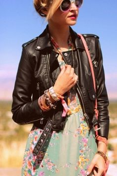 How to Style Spring Leather Jackets Would love this in black or gray.