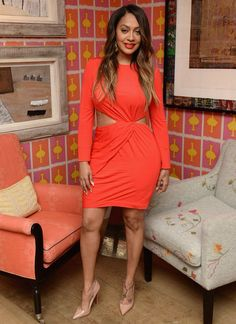 Splurge: Lala Anthony's Beauty Of Power Event Rachel Zoe Shay Red Drape Cutout Long Sleeve Mini Dress