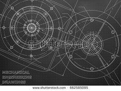Mechanical engineering drawings. Vector background. Black. Points  #bubushonok #art #bubushonokart #design #vector #shutterstock  #technical #engineering #drawing #blueprint   #technology #mechanism #draw #industry #construction #cad