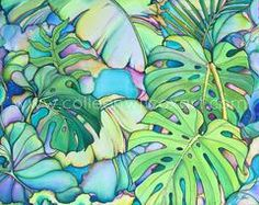 colleen wilcox original tropical leaves painting