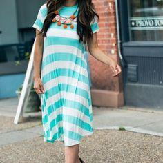 Mint and white Striped Midi Dress Fits 6-8. No trades or pp. Dresses Midi