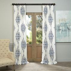 Exclusive Fabrics Kerala Blue Printed Cotton Twill Curtain Panel Curtains Patterned