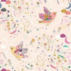 Spoonflower Wallpaper: Love. Hope. Dream. (peach)