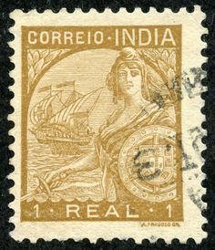 "1933 Scott 424 1r bister ""Portugal"" A design showing ""Portugal"" and ""San Gabriel"", the flagship of Vasco da Gama, was used in 1933 on 15 stamps."