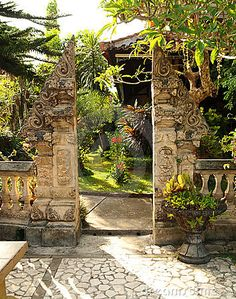 Traditional Split Gate In Balinese Garden