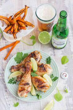 Pilons de poulet marinés à la bière et au citron vert, frites de légumes