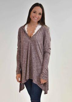 Mauve Knit Hoodie | Lane 201 Boutique