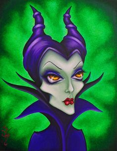 Maleficent by Natalie VonRaven Acrylic on canvas 11x14 https://www.etsy.com/listing/190035066/original-fantasy-lowbrow-woman-girl-face?ref=shop_home_feat_1